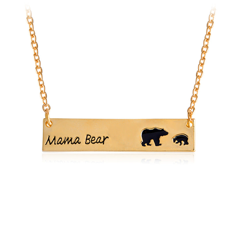 Creative Letters Engraved Mama Bear Pendant Necklace Cute