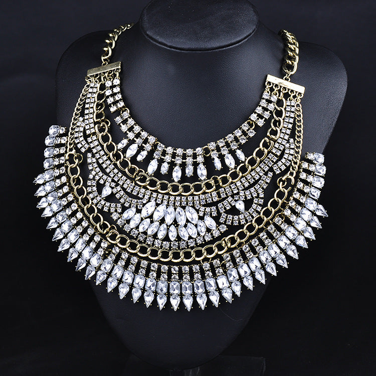 European Multilayer Crystal Rhinestone Statement Choker Necklace
