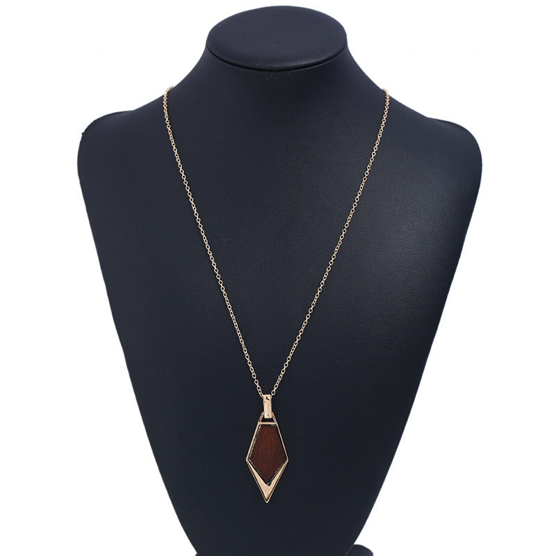 Simple Wood Gold Chain Statement Necklace for Women
