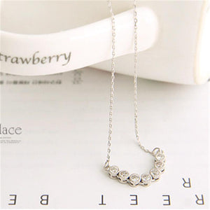Sweet Pendant Necklace Round Rhinestone U Shaped Pendant