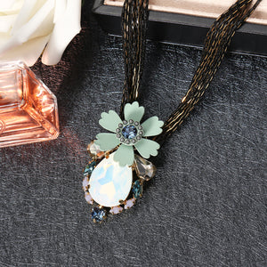 JASSY® Pear Cut Diamond Multilayer Chain Flower Shape Pendant Crystal Rhinestones Opal Necklace