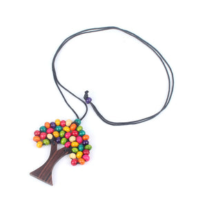 Bohemian Handmade Wooden Beads Tree of Life Necklace