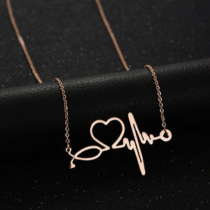 Heartbeat Electrocardiogram Heart Pendant Chain Necklace