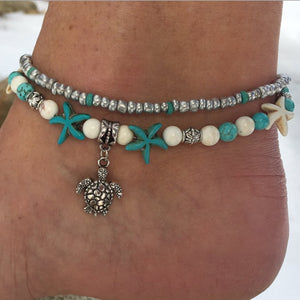 Conch Beads Yoga Anklets Beach Turtle Pendant Moon Heart