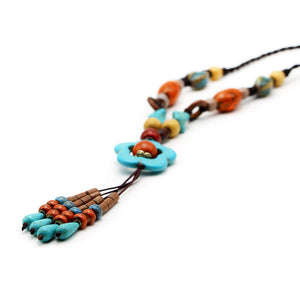 Vintage Handmade Ceramic Flower Wood Bead Tassel Necklace (As Picture)