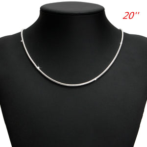 925 Silver Plated 3MM Simple Snake Unisex DIY Necklace Chain