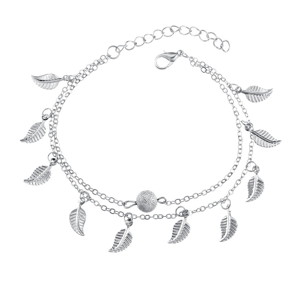 Trendy Silver Gold Color Leaf Pendant Anklet Double Layer