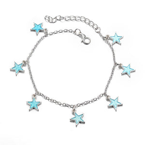 Trendy Luminous Blue Star Anklet Foot Chain Barefoot Sandal (Blue)
