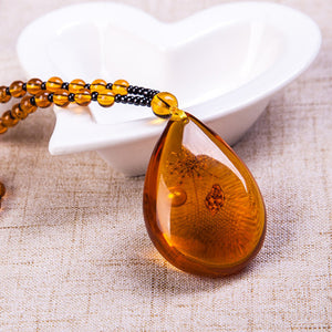Trendy Resin Amber Flower Beads Pendant Women Necklace