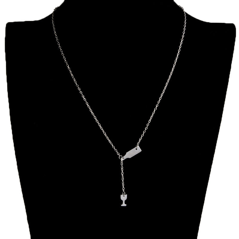 Pendant Necklace Elegant Chain Beer Wineglass Silver