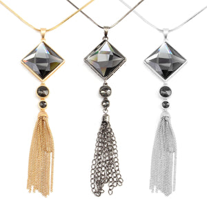 Vintage 18K Gold Tassels Long Crystal Pendant Punk Necklaces