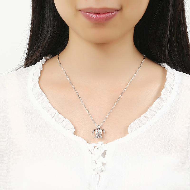 Retro Pearl Necklace Fashion Silver Color Hollow Openable Turtle Can Open Pendant Women Jewelry