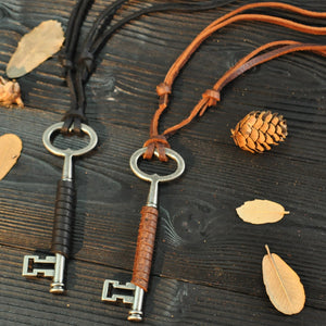 Vintage Key Shape Leather Punk Rock Long Handmade Necklace