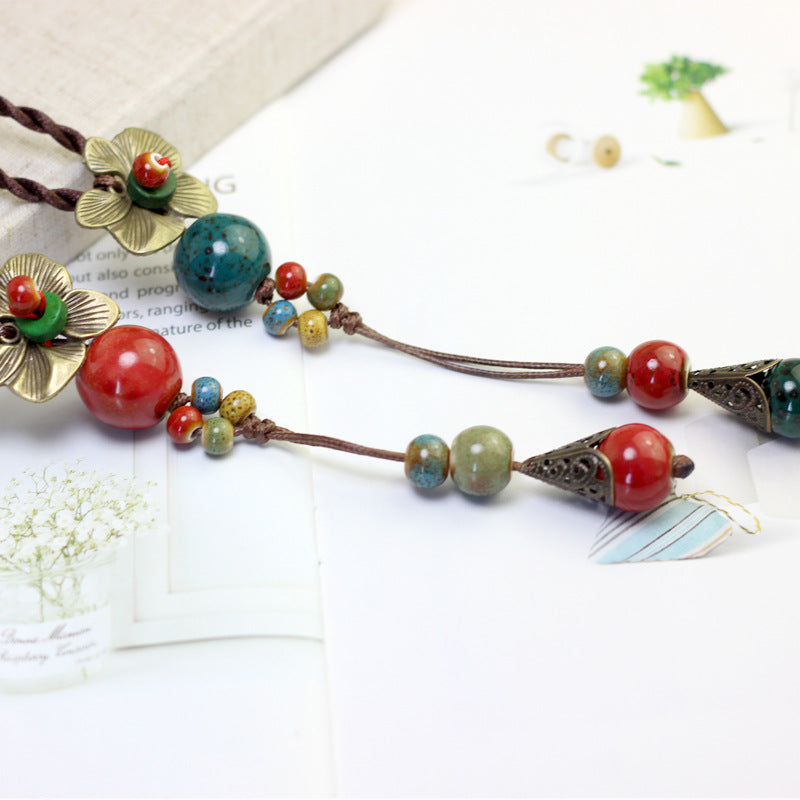 Ethnic Handmade Pendant Necklace Round Beads Flower Necklace