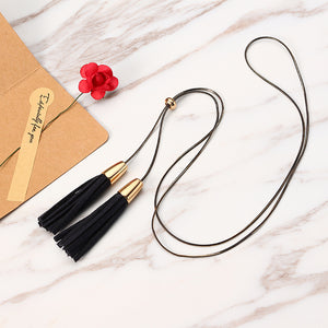 Women Jewelry Punk Leather Tassel Pendant Sweater Chain Unique Adjustable Long Necklace