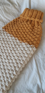 Colour Block Wool Waffle Knit in Mustard & Cream