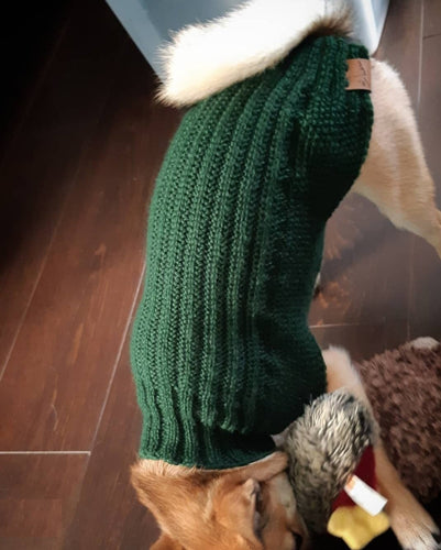 Classic Cartridge Rib Dog Sweater Premium Wool Blend