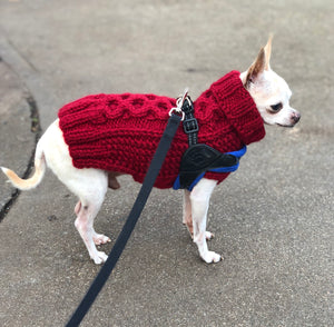 """The Original"" Honeycomb Cable Knit Dog Sweater XS-S"