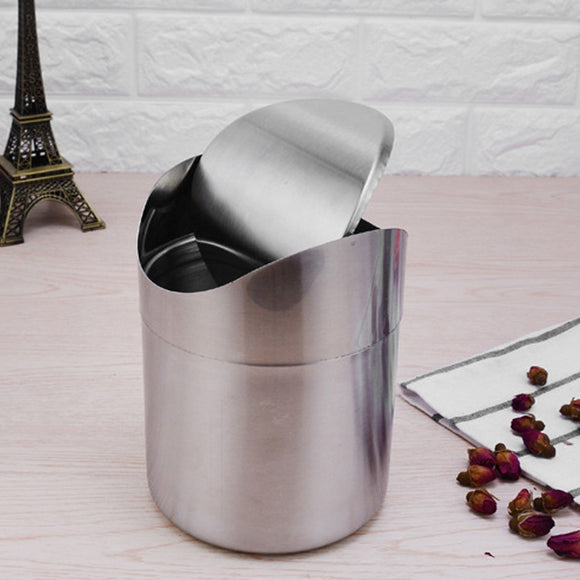Colorful Stainless Steel Desk Trash