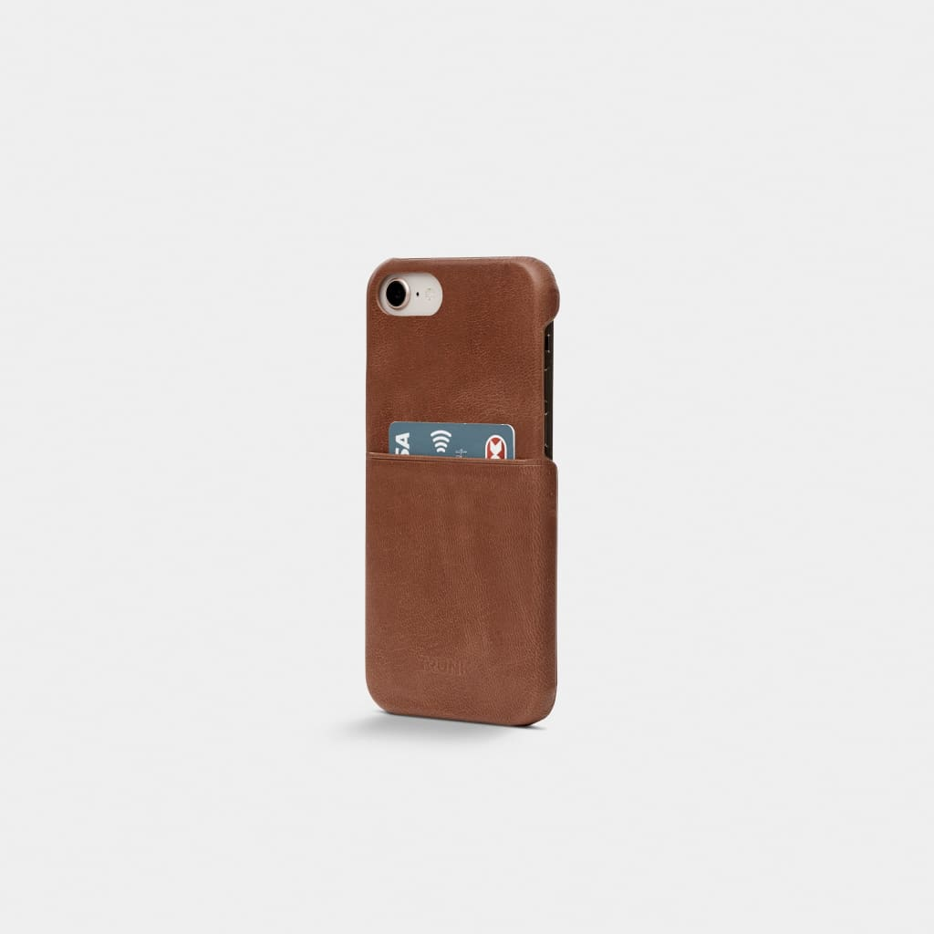 Brown Leather iPhone Cover - iPhone 6, 7, 8 - Neoprene