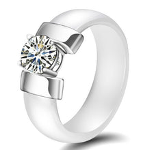 Load image into Gallery viewer, White and Silver Ceramic Ring For Women In USA