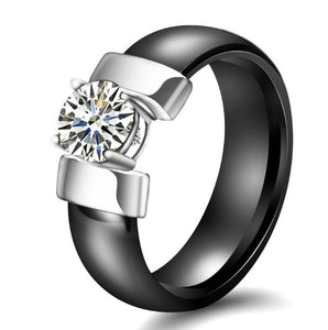 Black and Silver Ceramic Ring For Women In USA