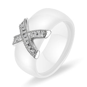 White and Silver Ceramic Ring For Women In USA