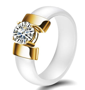 White and Golden Ceramic Ring For Women In USA