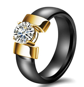 Black and Golden Ceramic Ring For Women In USA