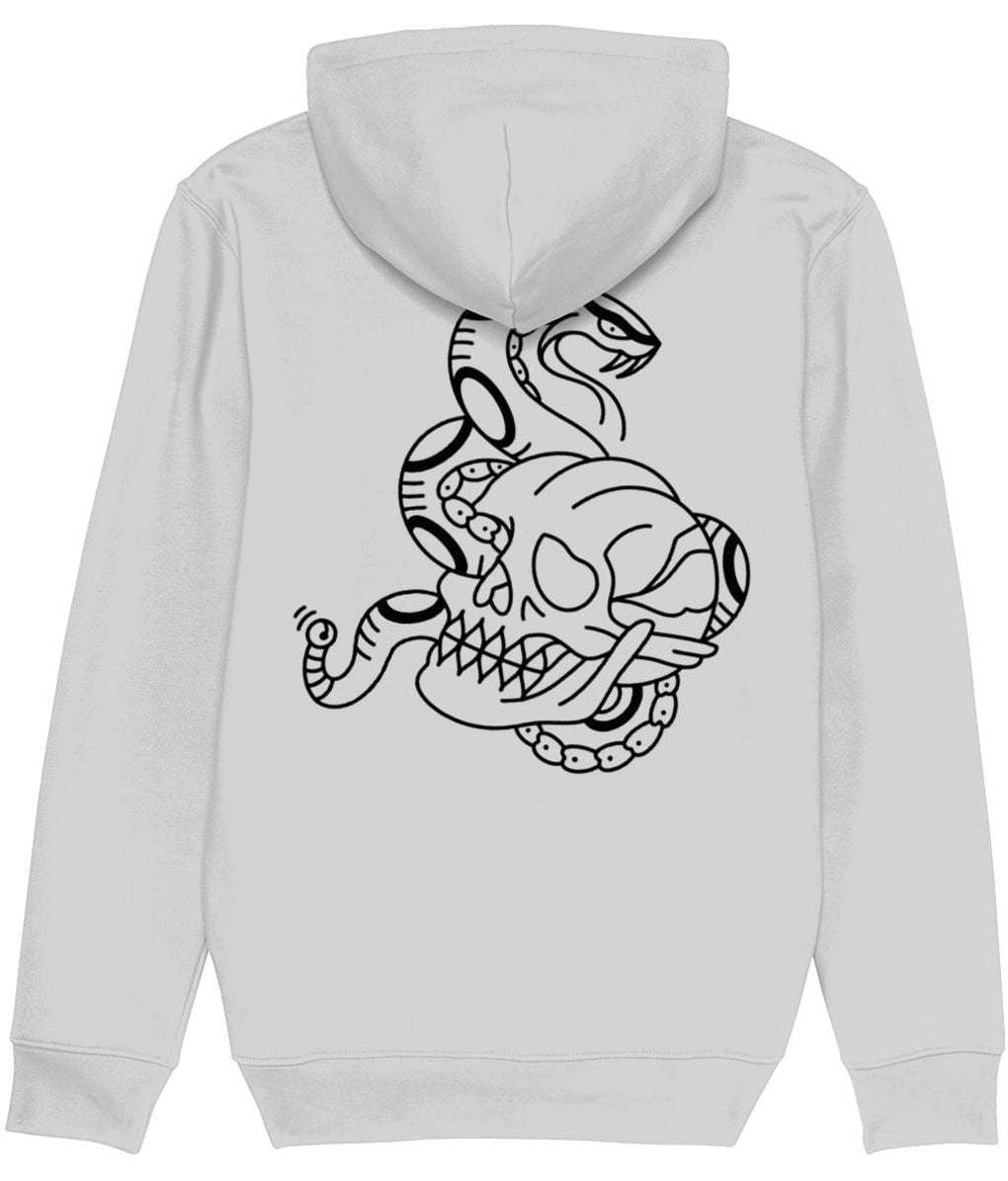 tattoo inspired Clothing Snake and Skull - Black & Grey Hoodie