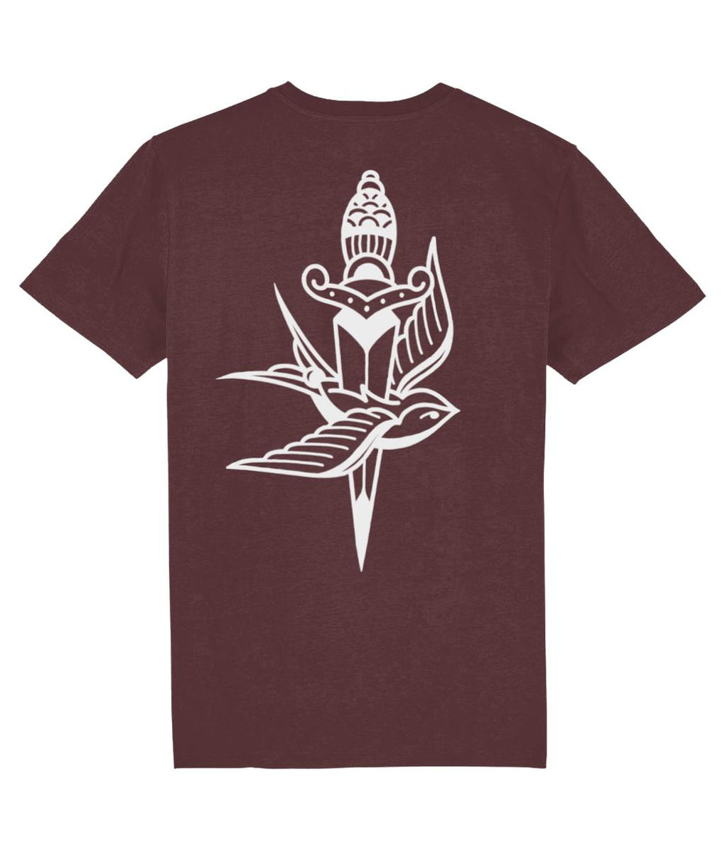 tattoo inspired T-shirt Swallow & Dagger - Black & Burgundy Tee