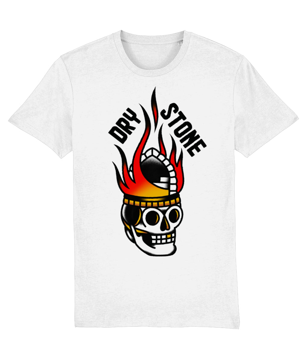 Tattoo T-shirt X-Small Flaming Skull - White Tee