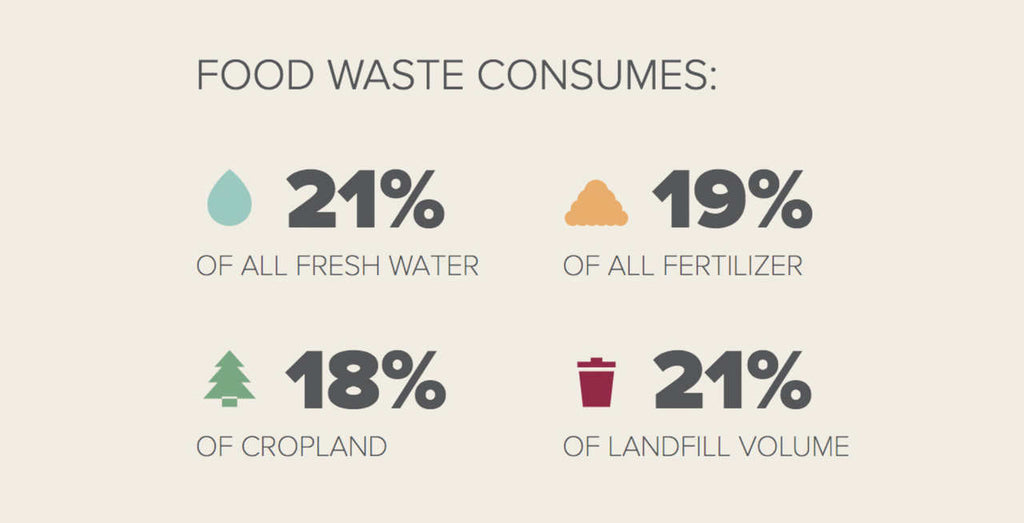 food wastes consumption of water, fertilizer, landfill volume and land