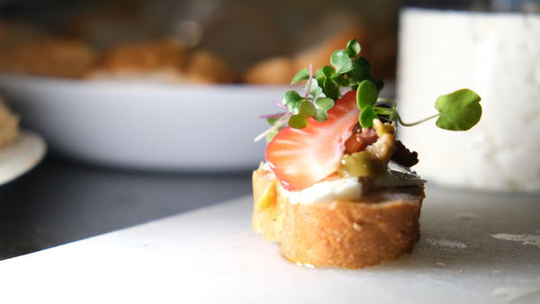 Bruschetta with microgreens from agriolabs seedpad