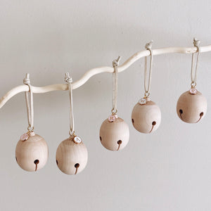 Personalized Wooden Jingle Bell (white charm)
