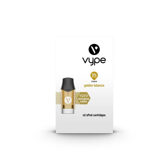 Golden Tobacco eLiquid flavour pods for your e cigarette device, containing pharmaceutical-grade nicotine and food-grade flavourings.