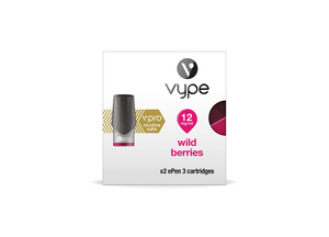 Wild Berries, eliquid pods for you Vype or Vuse ePen. Made with Vpro nicotine Salts, you'll get two pods in your pack.