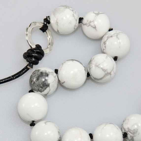 Beaded Necklace. White Howlite with Leather