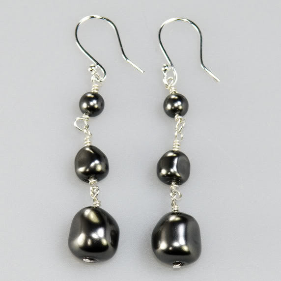 Drop Earrings. Black Baroque Pearl