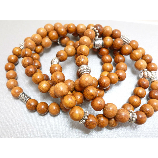 Beaded Braceket Set. Bayong Wood 5-Stack