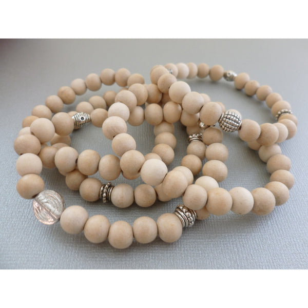 Beaded Bracelet Set. White Wood 5-Stack