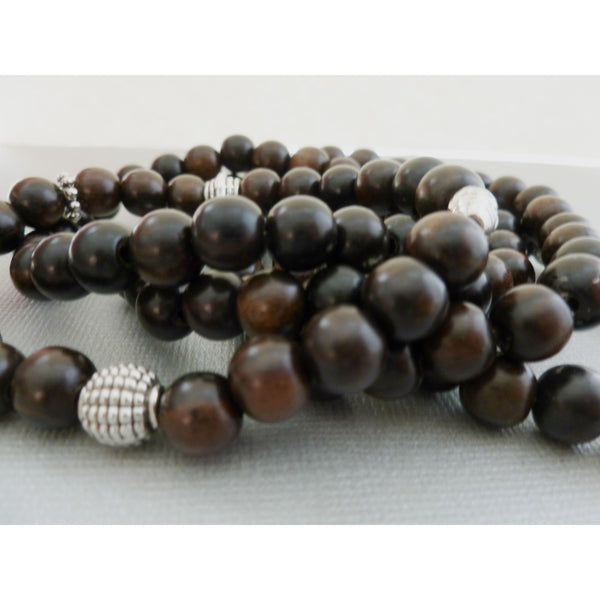 Beaded Bracelet Set. Tiger Ebony Wood 5-Stack