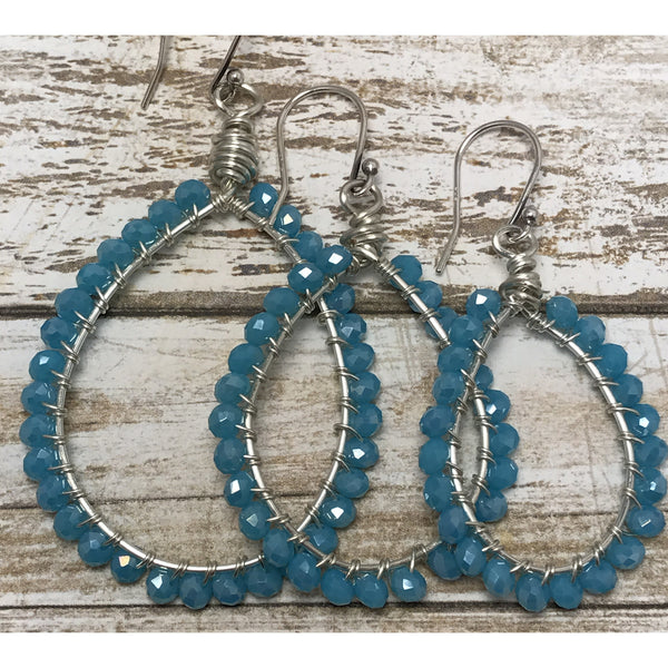 Beaded Earrings. Turquoise Crystal Hoops