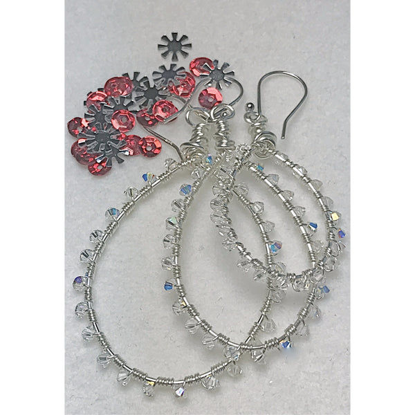 Beaded Earring., Wire Wrapped Swarovski Crystal Earrings