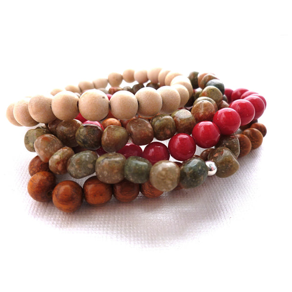 Beaded Bracelet. Autumn Jasper Stackers