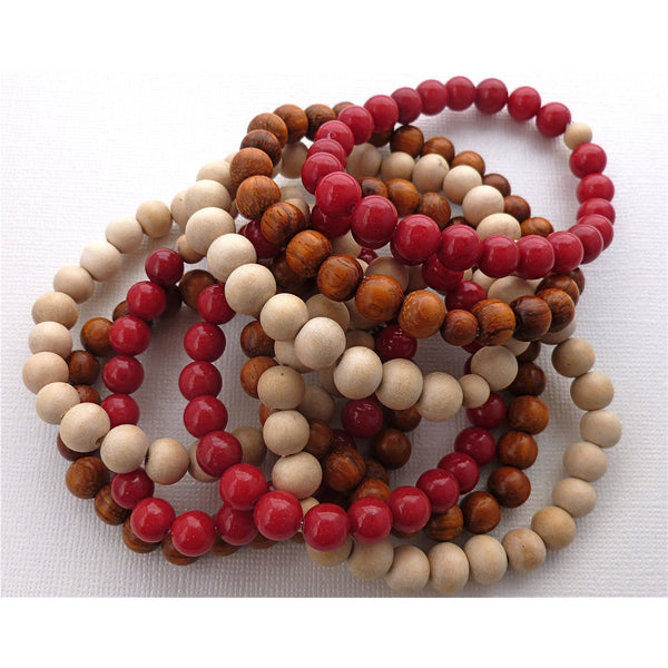 Beaded Bracelet Set, Red Jade & Wood