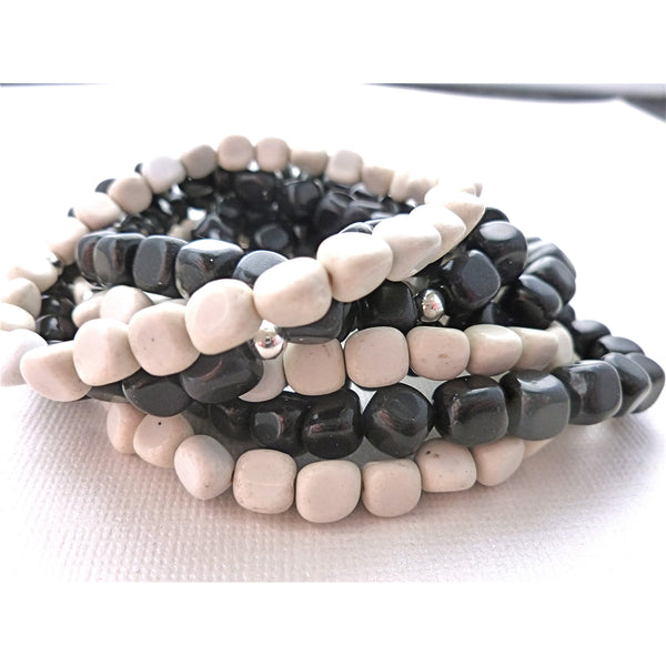Beaded Bracelet. Grey Feldspar Stackers