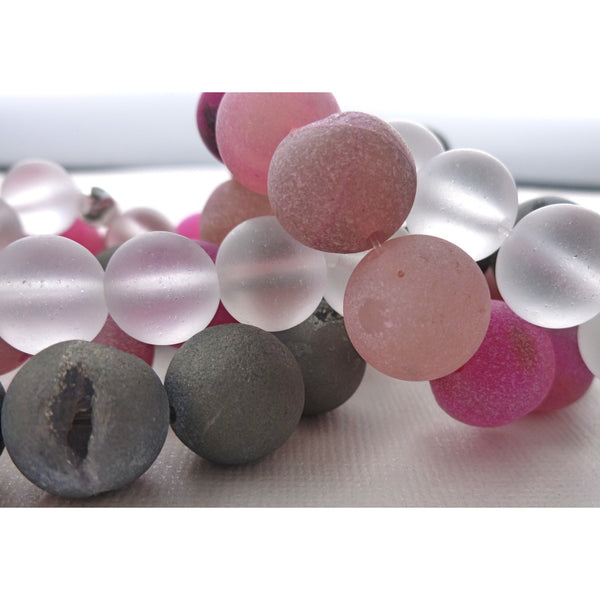 Beaded Bracelet Set. Pink & Grey Druzi with Clear Quartz