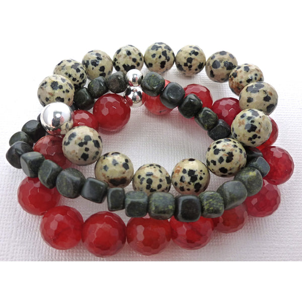 Beaded Bracelet Set. Jade & Jasper