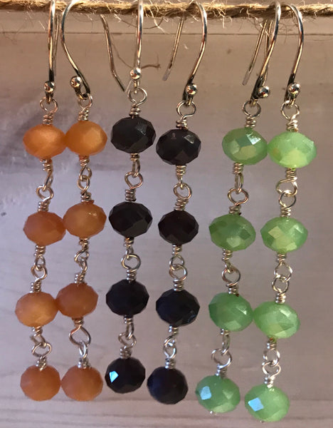 Drop Crystal Earrings - 4 crystals